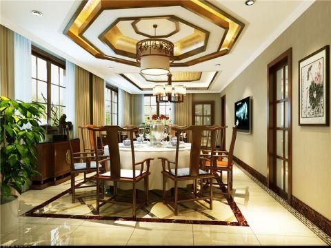餐厅窗帘中式风格装潢图片