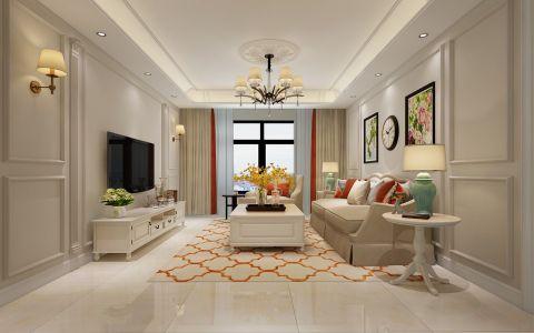 美式风格137平米3房2厅房子装饰效果图
