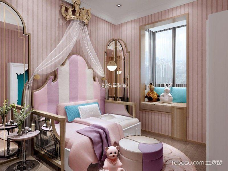 儿童房粉色背景墙混搭风格装潢图片