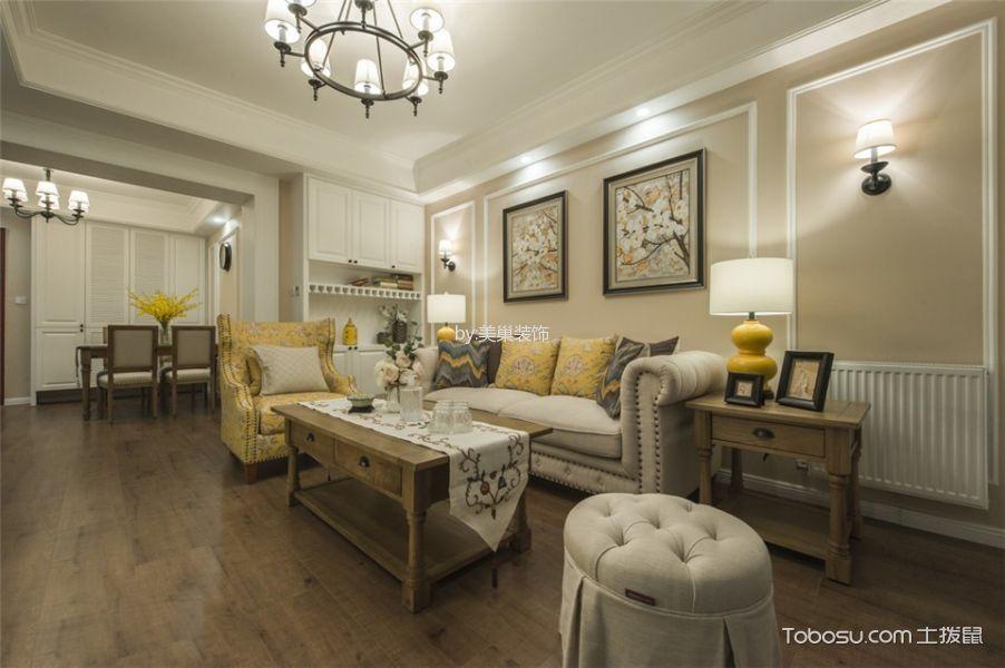 美式风格128平米三室两厅室内装修效果图
