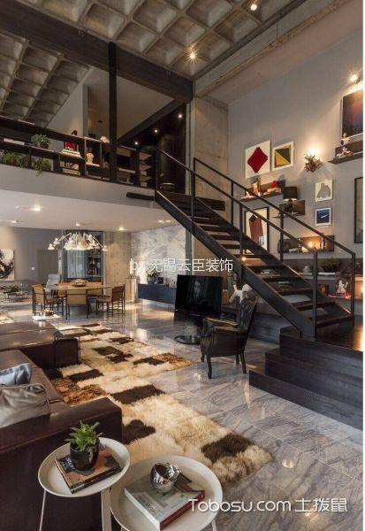客厅黑色楼梯混搭风格装饰图片
