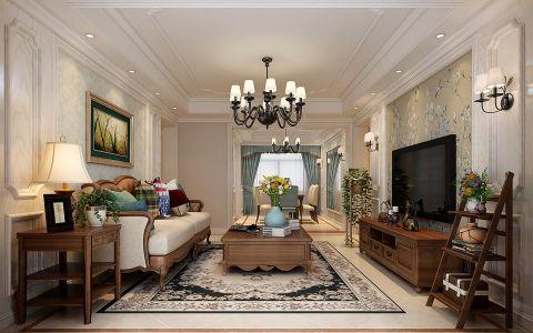 美式风格134平米三室两厅室内装修效果图