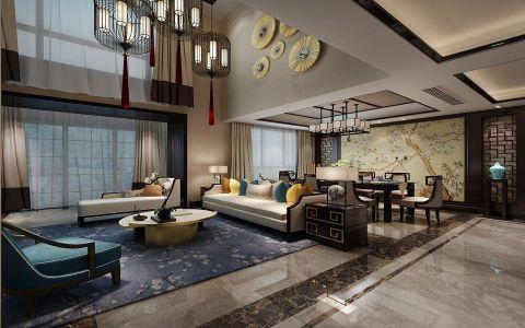 新中式风格300平米跃层房子装饰效果图