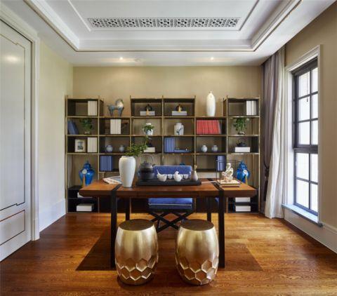 书房窗帘新中式风格装修图片