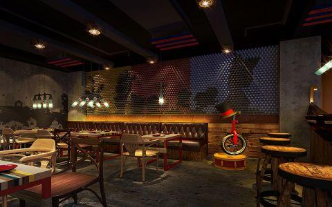 美式风格主题餐厅大厅装潢设计图片