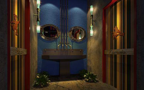 美式风格主题餐厅厕所装修效果图
