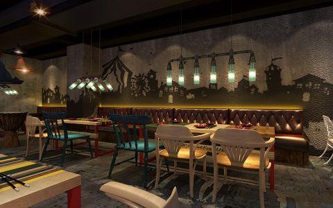 美式风格主题餐厅小座装修实景图