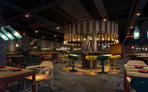 美式风格主题餐厅吧台装修设计图片