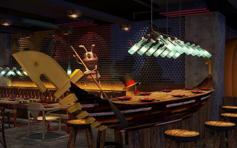 美式风格主题餐厅特色座位效果图图片
