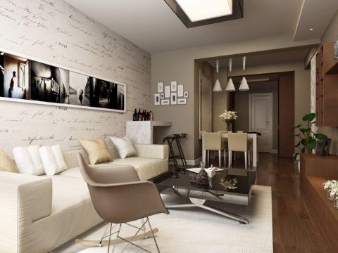 现代简约风格90平米三室两厅室内装修效果图