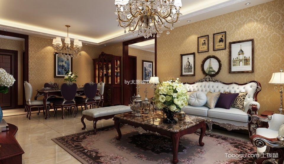 客厅 背景墙_智诚御河骏景三居室欧式风格样板间装修设计