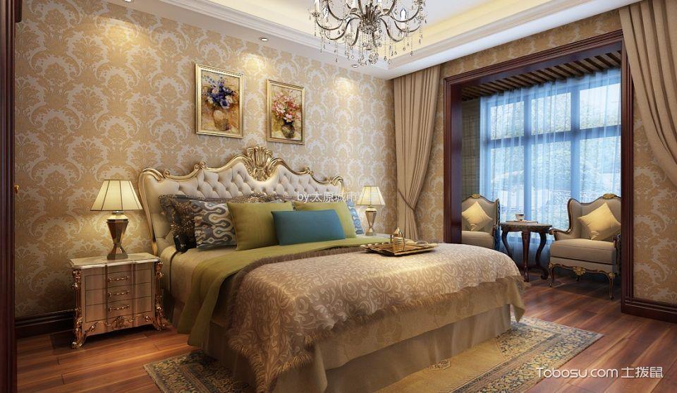 卧室 背景墙_智诚御河骏景三居室欧式风格样板间装修设计