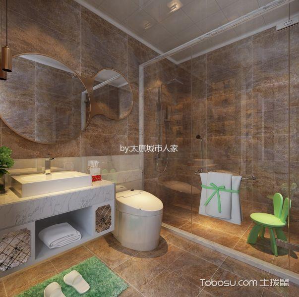 卫生间 背景墙_智诚御河骏景三居室欧式风格样板间装修设计