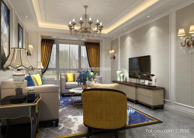 100平欧式风格二居室装修图