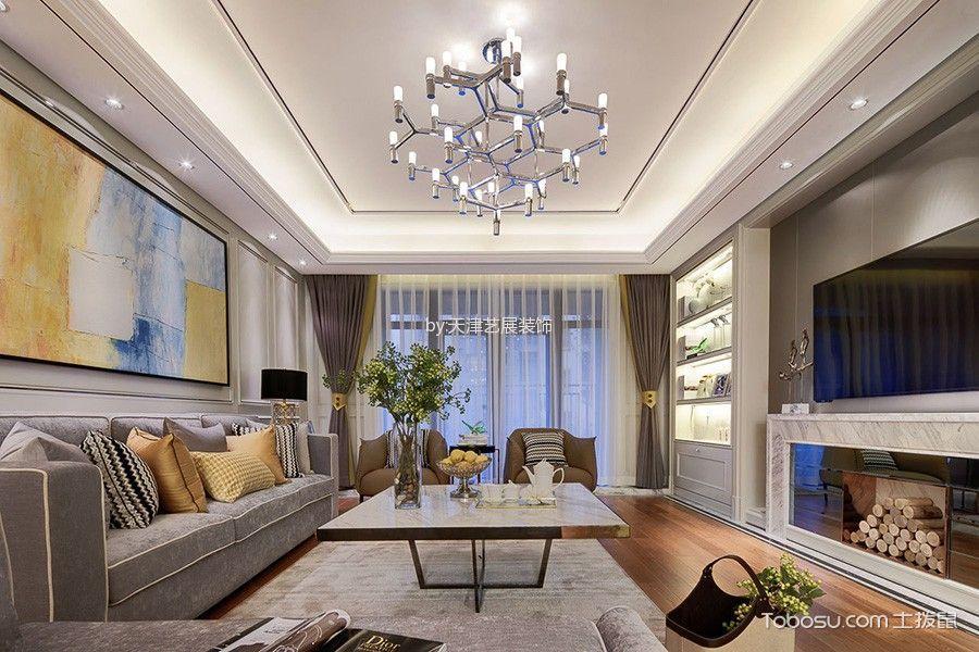 简约风格的客厅样板间装修案例中,我们也会看到不错的亮点,吊顶灯饰图片