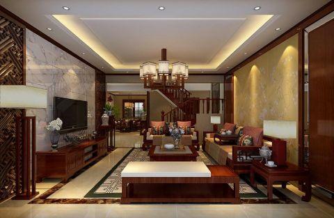 新中式风格300平米复式室内装修效果图