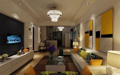 国福现代城现代风格三居室装修效果图