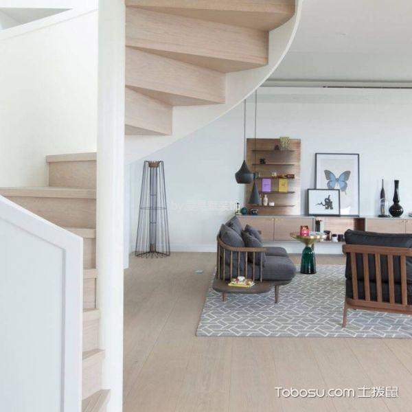 客厅米色楼梯北欧风格装潢效果图