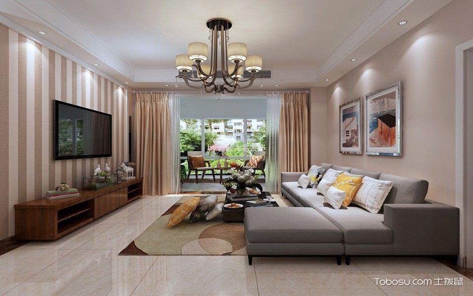 现代简约风格98平米2房2厅房子装饰效果图