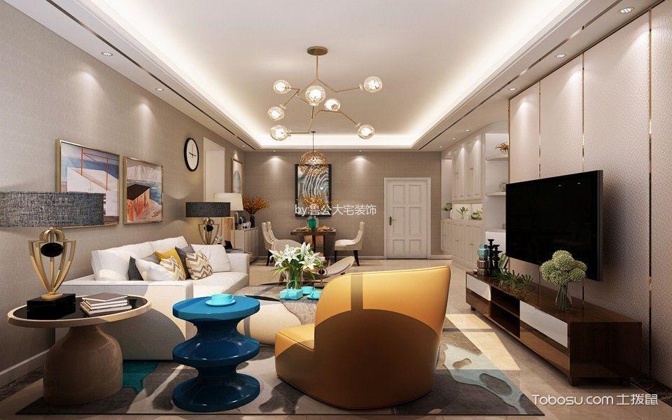 现代简约风格91平米2房2厅房子装饰效果图