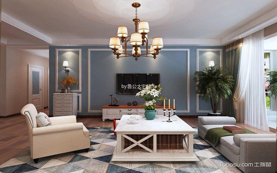 美式风格140平米三房两厅新房装修效果图