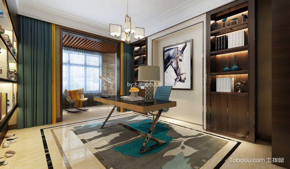 书房绿色窗帘混搭风格装潢效果图