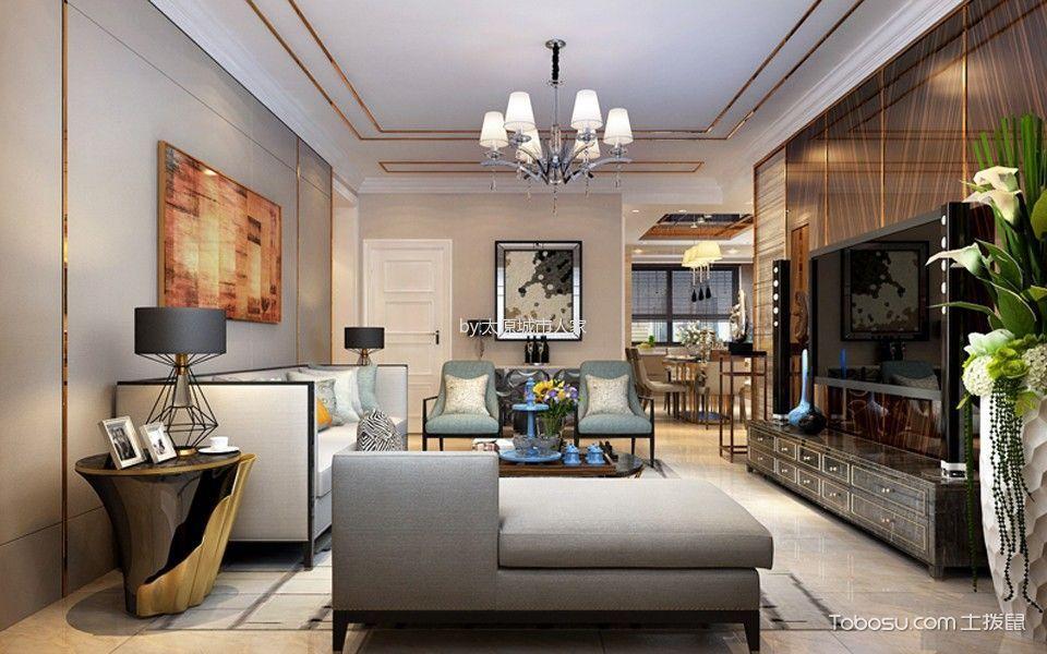 现代简约风格130平米公寓新房装修效果图