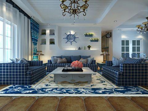 地中海风格122平米三房两厅新房装修效果图