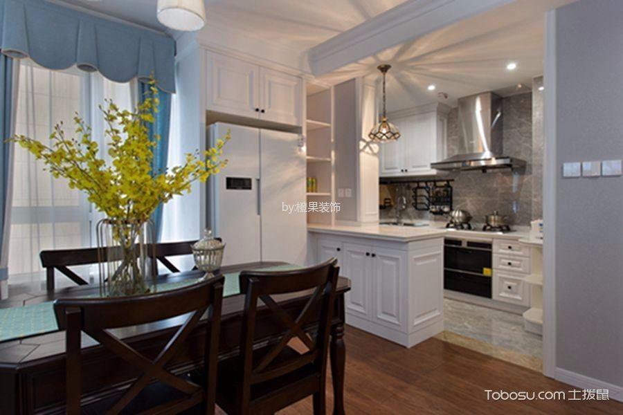 厨房白色吧台美式风格装潢效果图