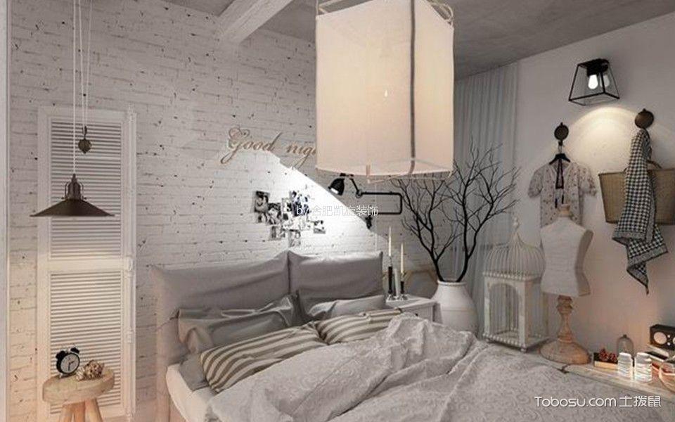 卧室白色背景墙北欧风格装潢设计图片