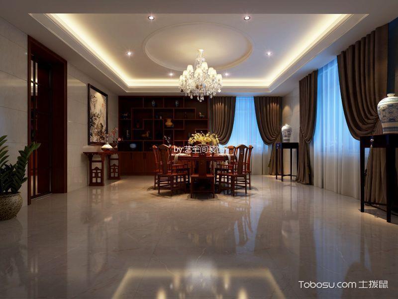 餐厅咖啡色窗帘新中式风格装饰图片