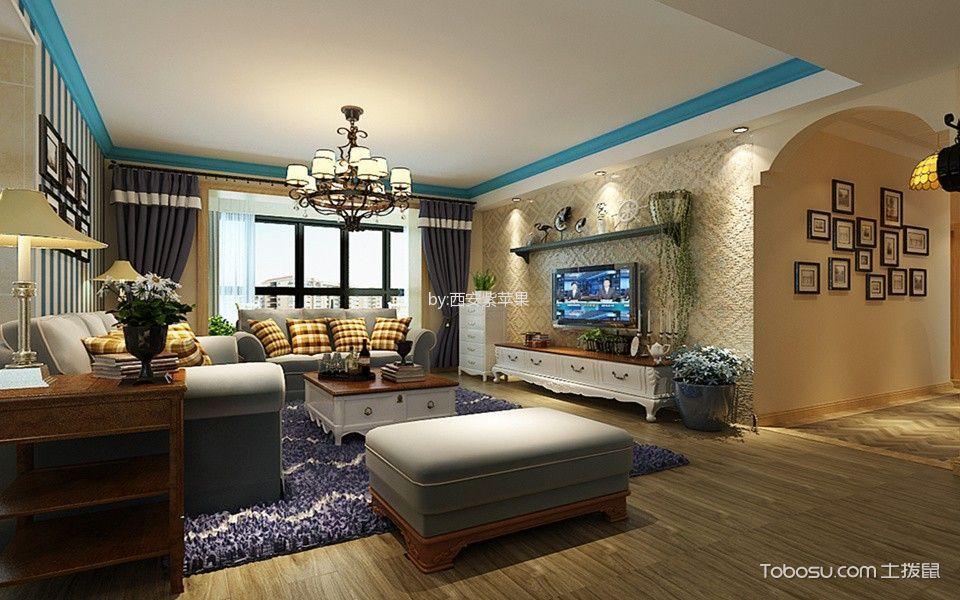 地中海风格134平米3房2厅房子装饰效果图