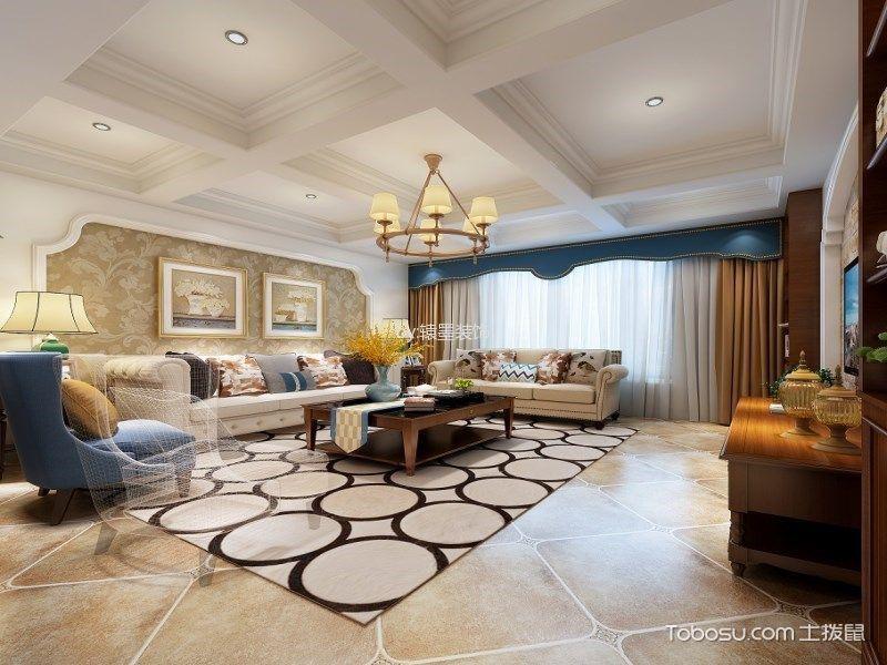 美式风格118平米3房2厅房子装饰效果图