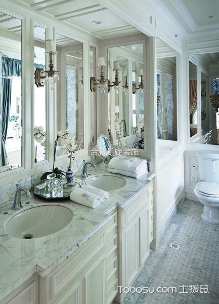 卫生间白色背景墙法式风格装修设计图片