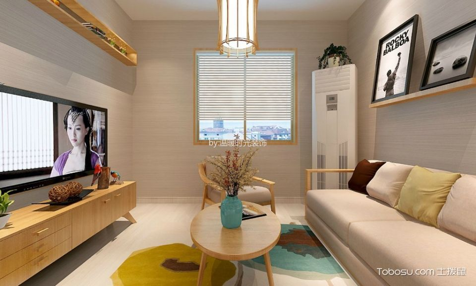 80平日式风格二居室装修效果图