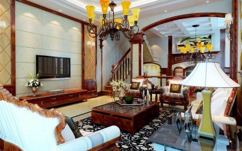 玫瑰绅城330平新中式风格别墅设计效果图