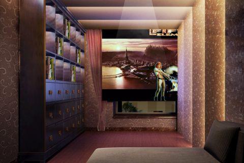卧室咖啡色背景墙简欧风格装潢设计图片