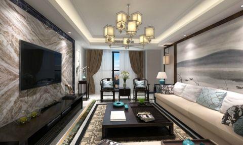 现代中式风格130平米3房2厅房子装饰效果图