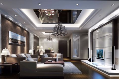 客厅灰色沙发简欧风格效果图