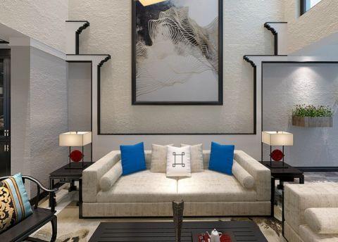 现代中式风格300平米别墅室内装修效果图