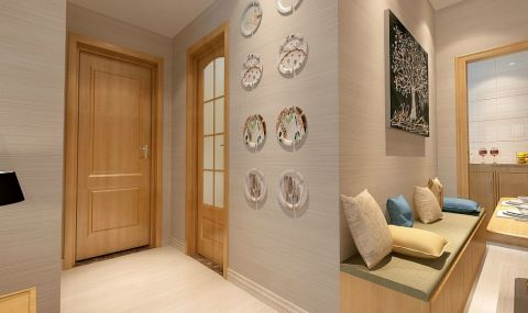 玄关背景墙日式风格装潢设计图片