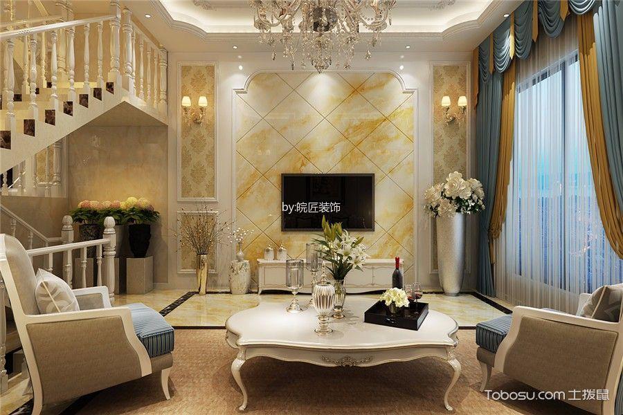 客厅 背景墙_简欧风格180平米复式新房装修效果图图片