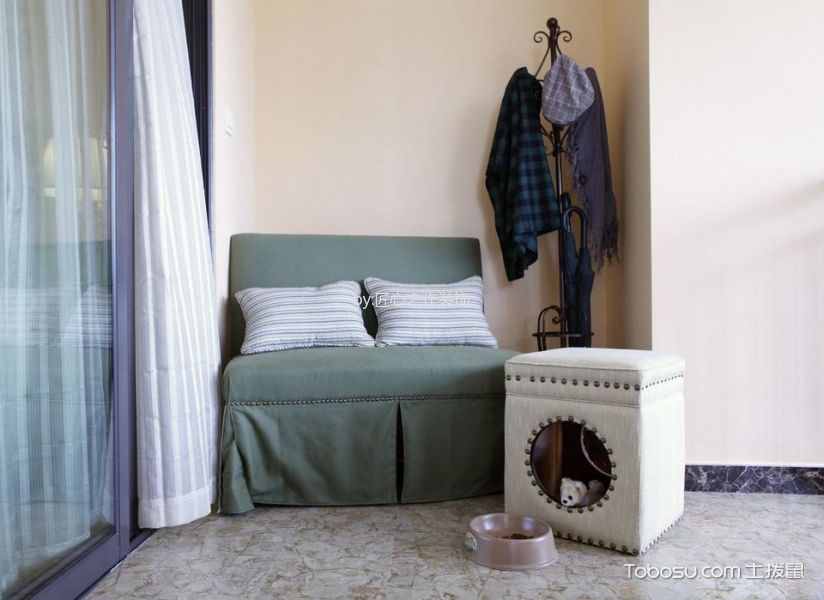 阳台白色窗帘美式风格装饰效果图