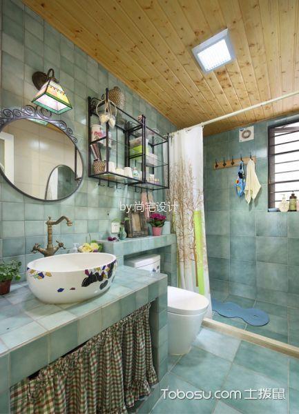 卫生间 吊顶_田园风格134平米3房2厅房子装饰效果图