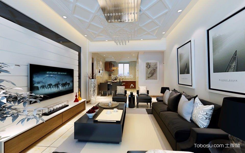 黑色皮质沙发简欧风格装修效果图