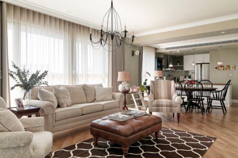 美式风格160平米四房两厅新房装修效果图