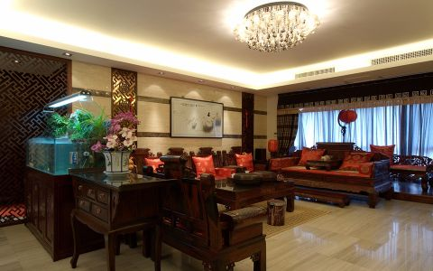 中式风格190平米三室两厅室内装修效果图