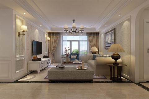 简欧风格76平米两室两厅室内装修效果图