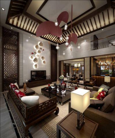现代中式风格180平米复式室内装修效果图
