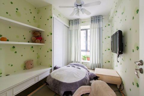 儿童房背景墙混搭风格装潢图片